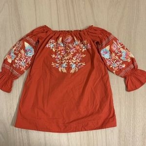 NEW Free People Embroidery Casual Shirt Top Womens